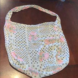 Free People Linen Muslin pink floral & brown bag